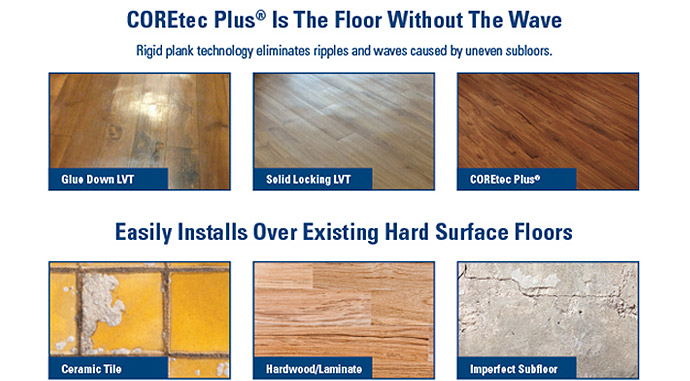 COREtech Plus Is The Floor Without The Wave - Easily Installs Over Existing Hard Surface Floors